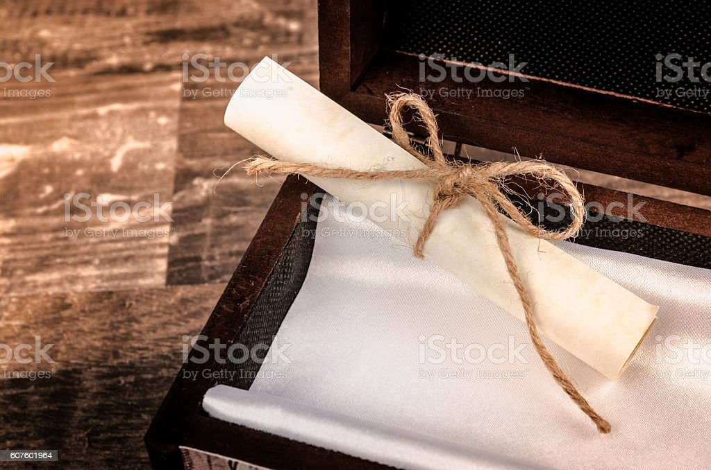 Secret paper note message in a box stock photo