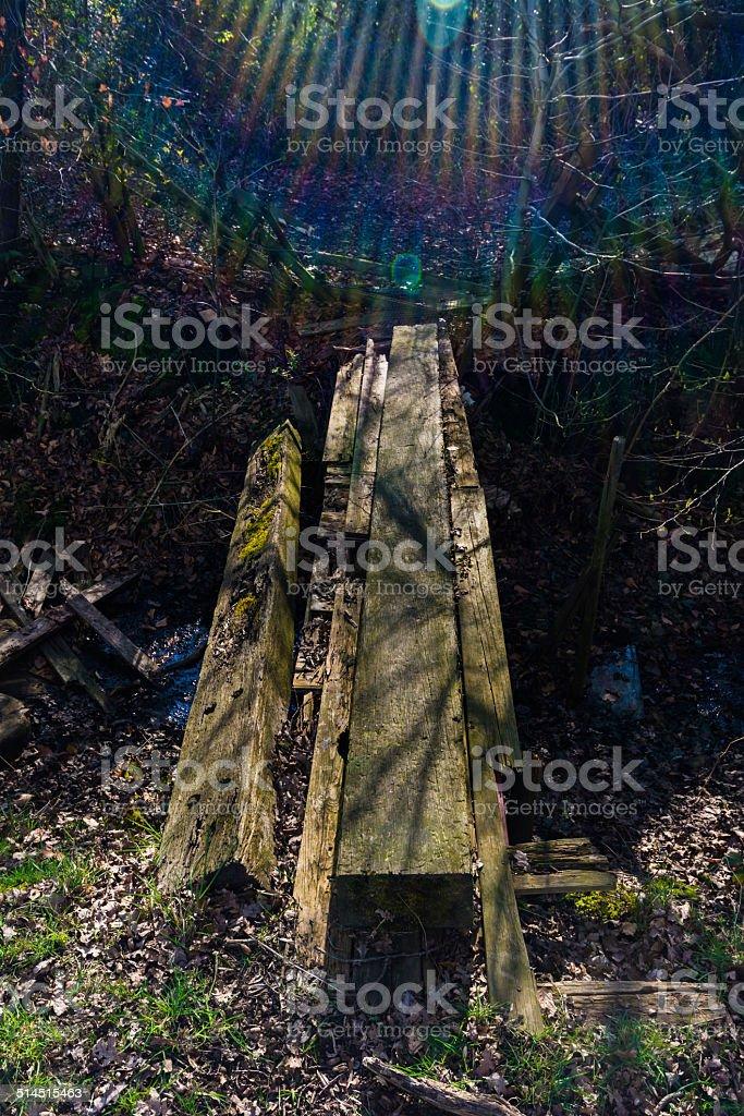 Secret road to the treehut (lensflare) stock photo