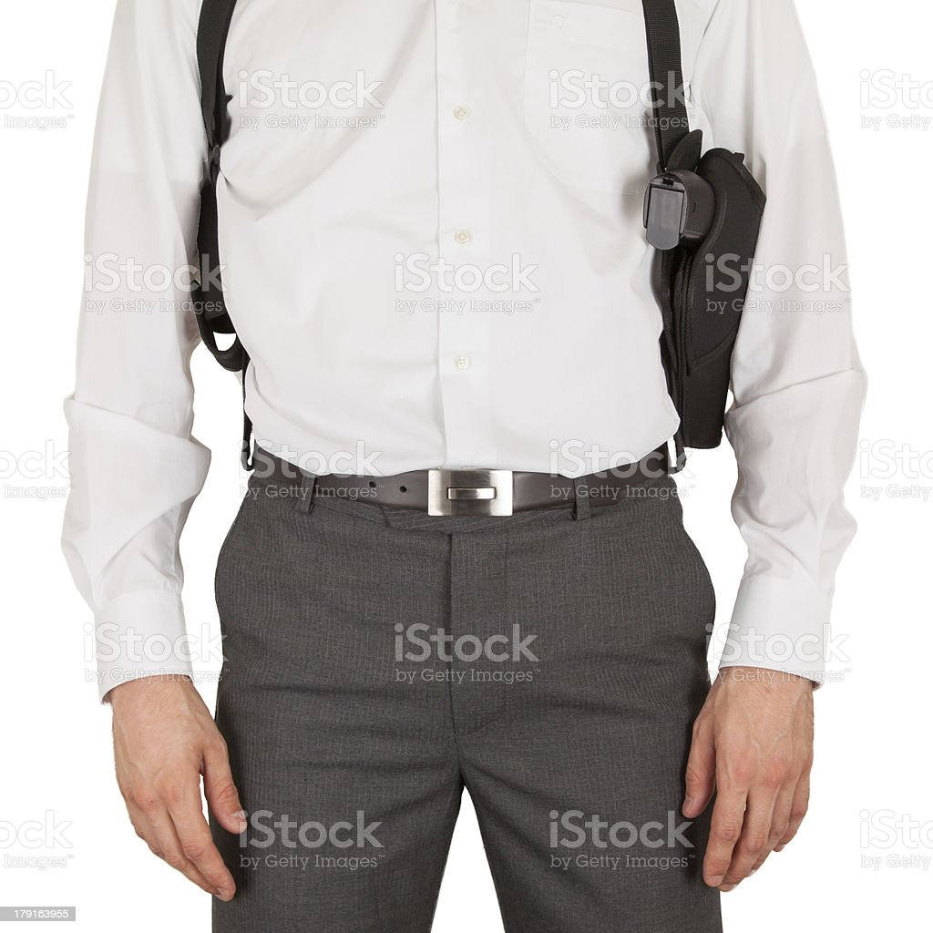 Secret service agent with a gun stock photo