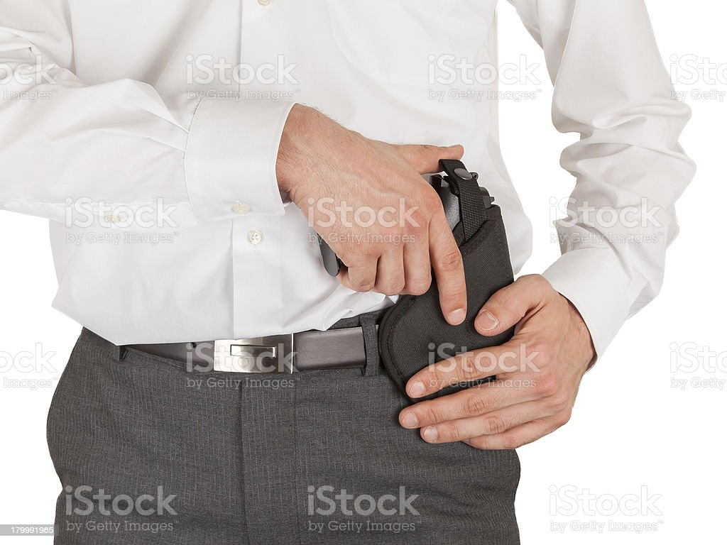 Secret service agent with a gun royalty-free stock photo