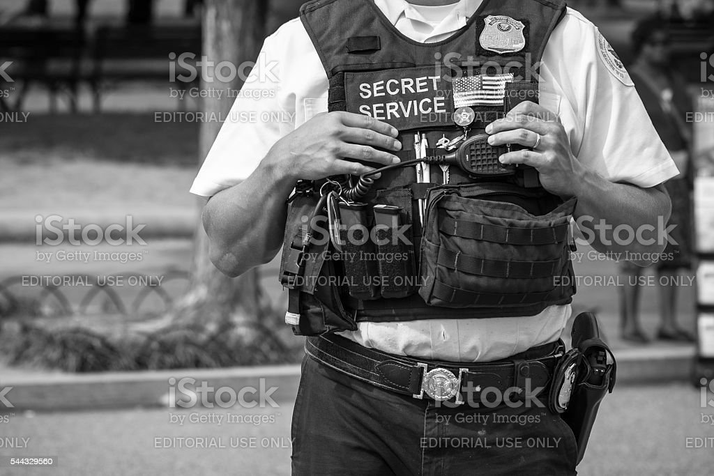 U.S. Secret Service officer outside White House stock photo