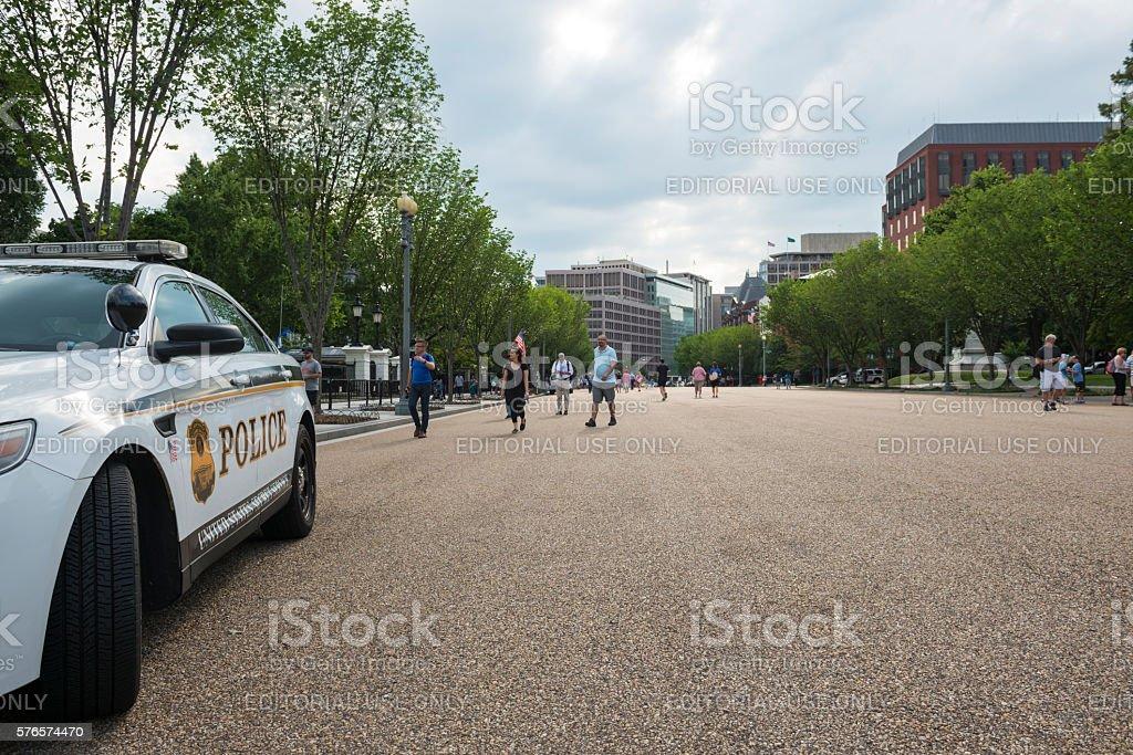Secret Service outside White House stock photo
