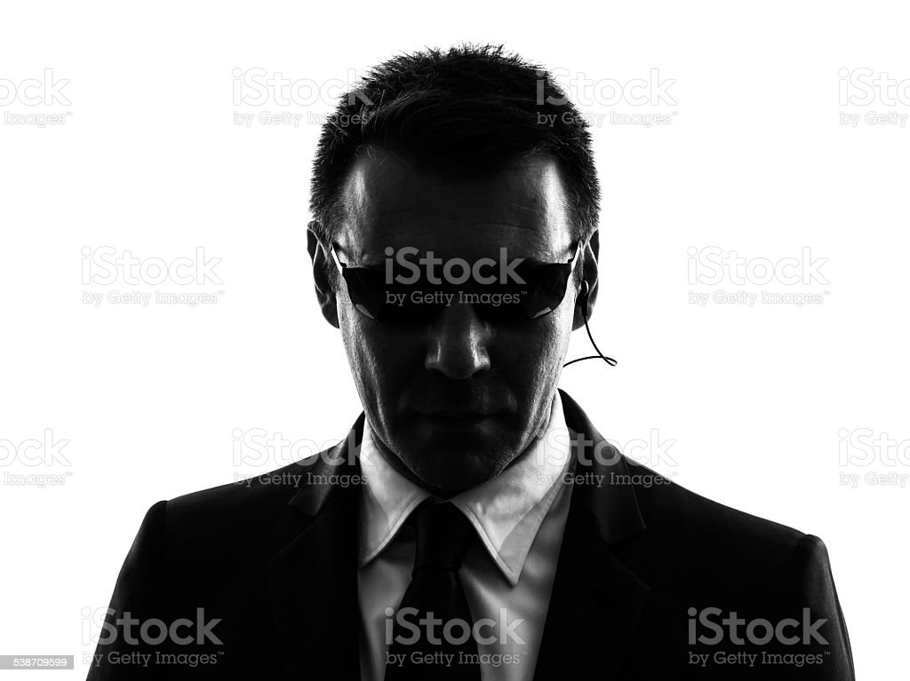 secret service security bodyguard agent man silhouette stock photo