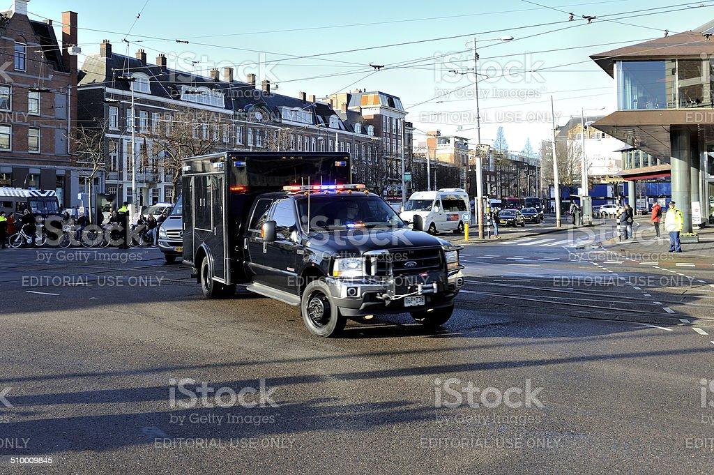 US Secret Service truck underway in Amsterdam stock photo