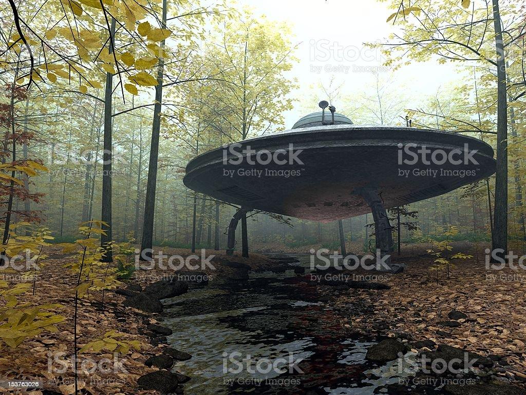 Secret UFO Landing stock photo