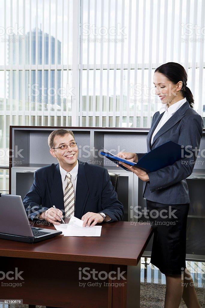 Secretary and boss royalty-free stock photo