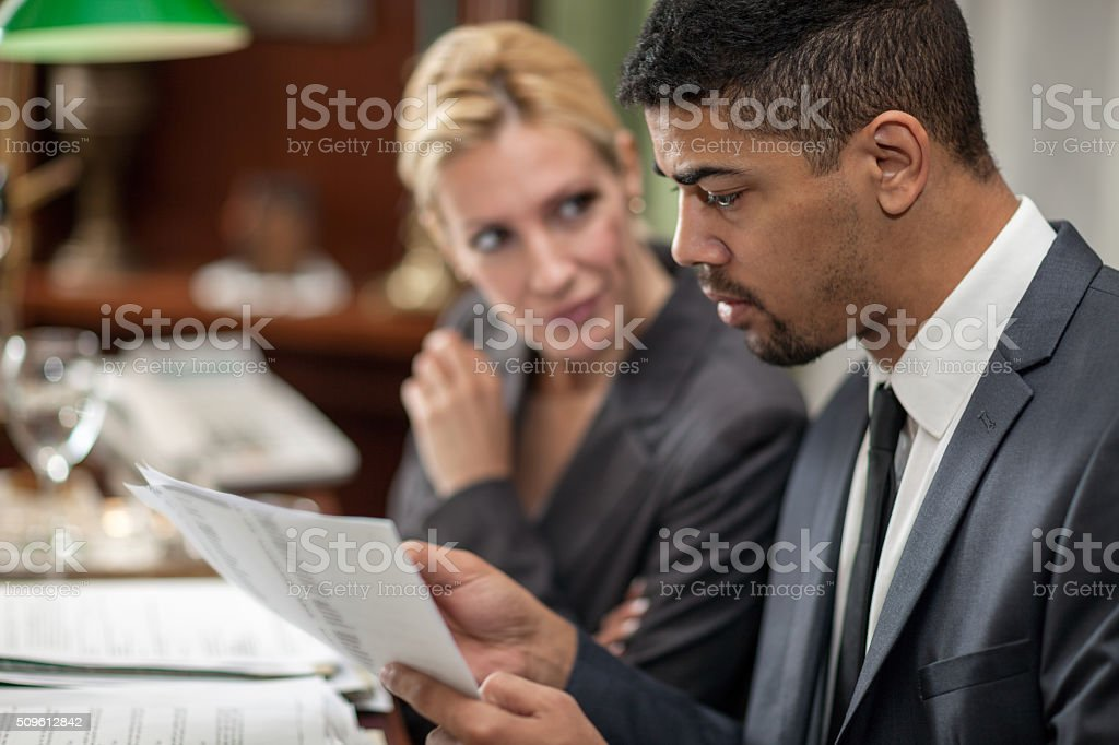 secretary helps successful President's of companies in the  offi stock photo