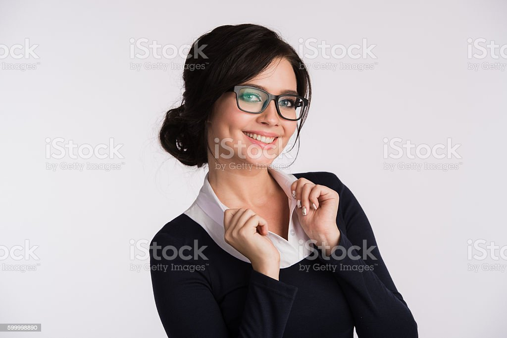 Secretary or business woman with suprised look on her face stock photo