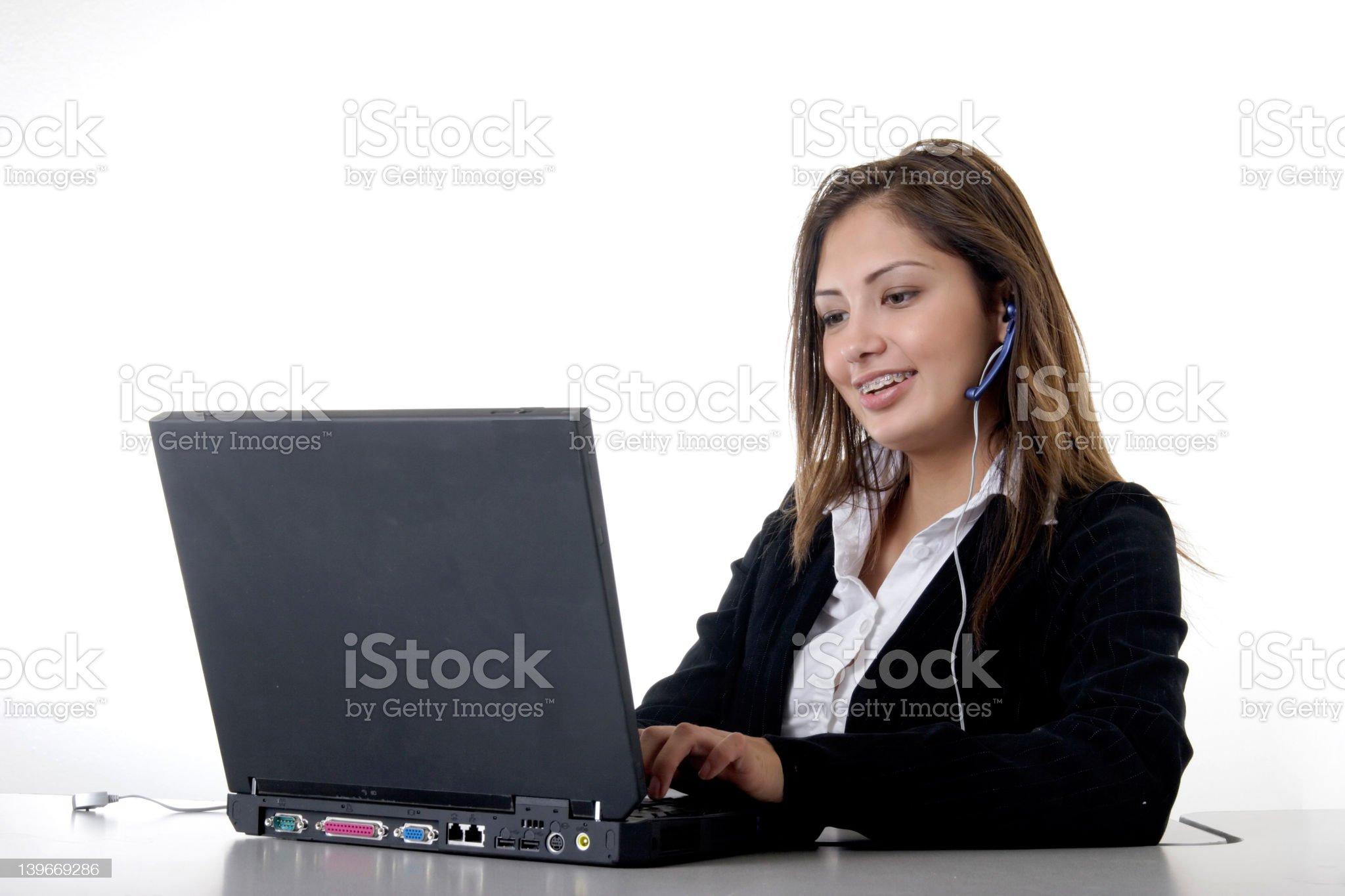 Secretary typing on compute royalty-free stock photo