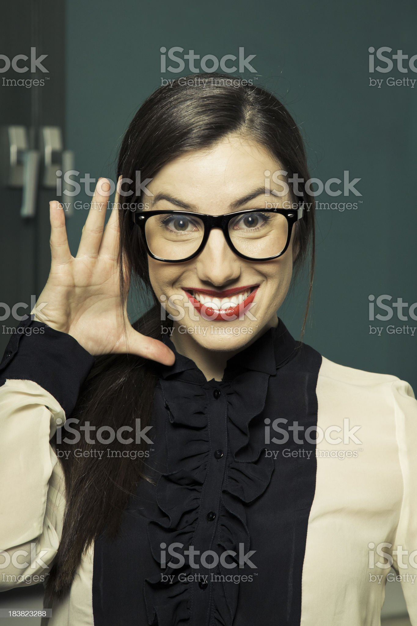Secretary with funny facial expression royalty-free stock photo