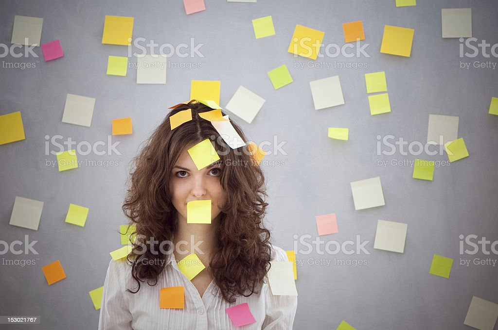 secretary with many notes stock photo