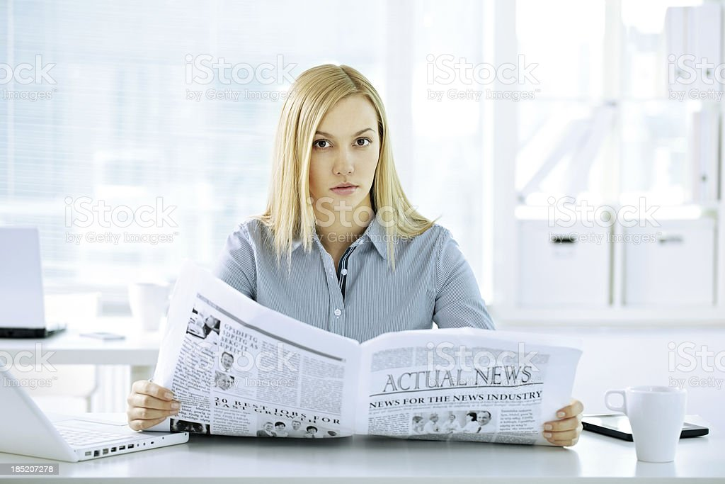 Secretary with paper royalty-free stock photo