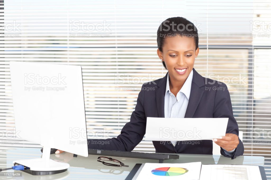 Secretary woman behind the desk. royalty-free stock photo