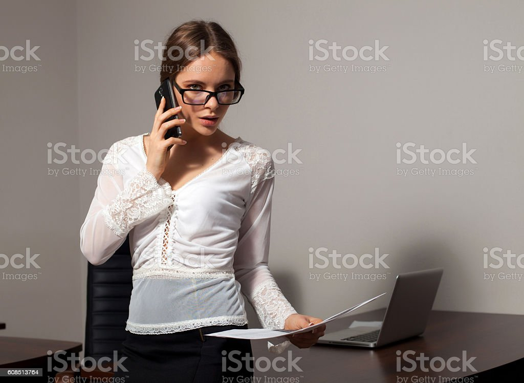Secretary works in the office stock photo
