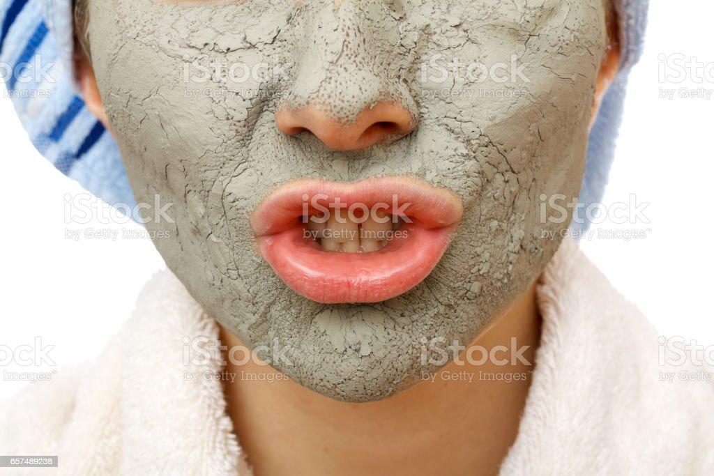 Secrets of skin firming facial mask stock photo