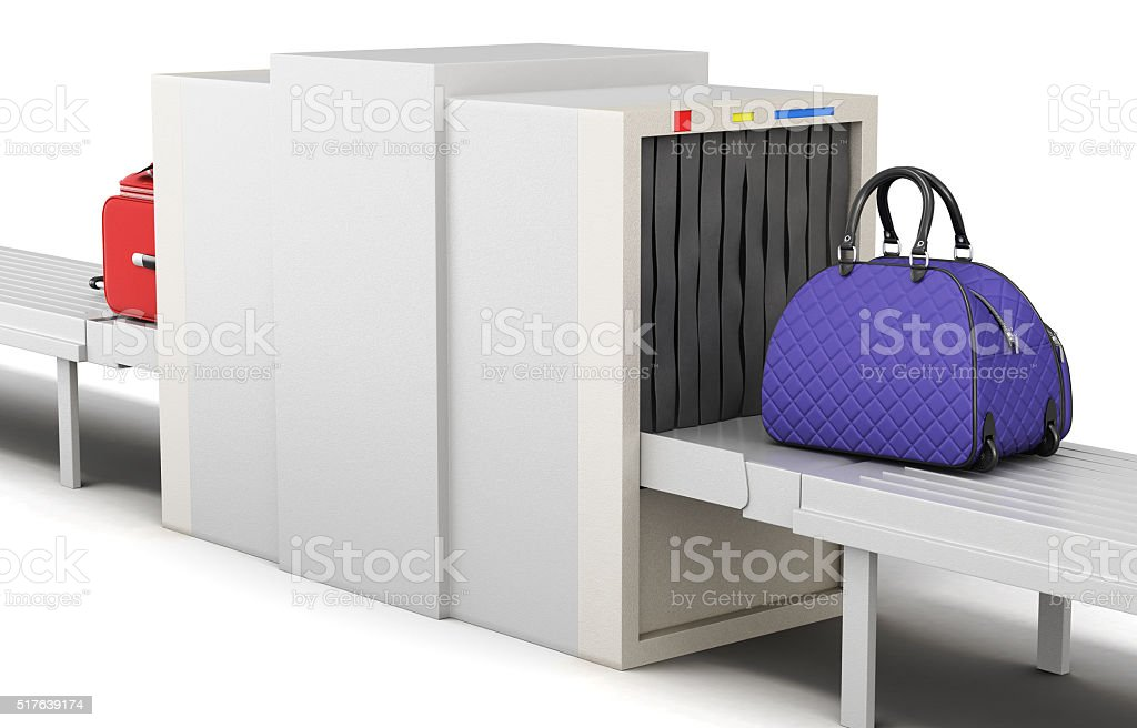 Secruite checkpoint isolated on a white background. 3d rendering stock photo