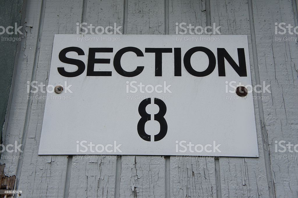 Section 8 Sign stock photo