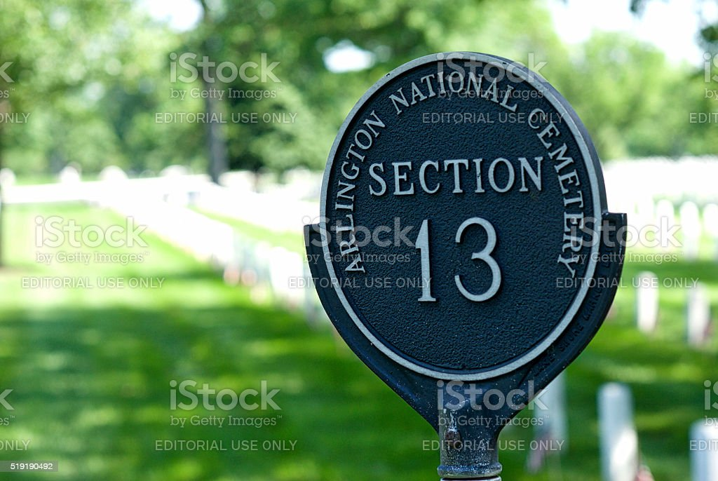 Section Marker, Arlington National Cemetery stock photo