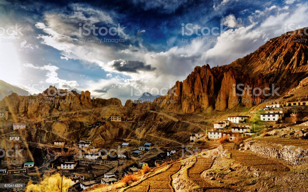 A section of Dhankar Village, Spiti Valley, Himachal Pradesh, India stock photo