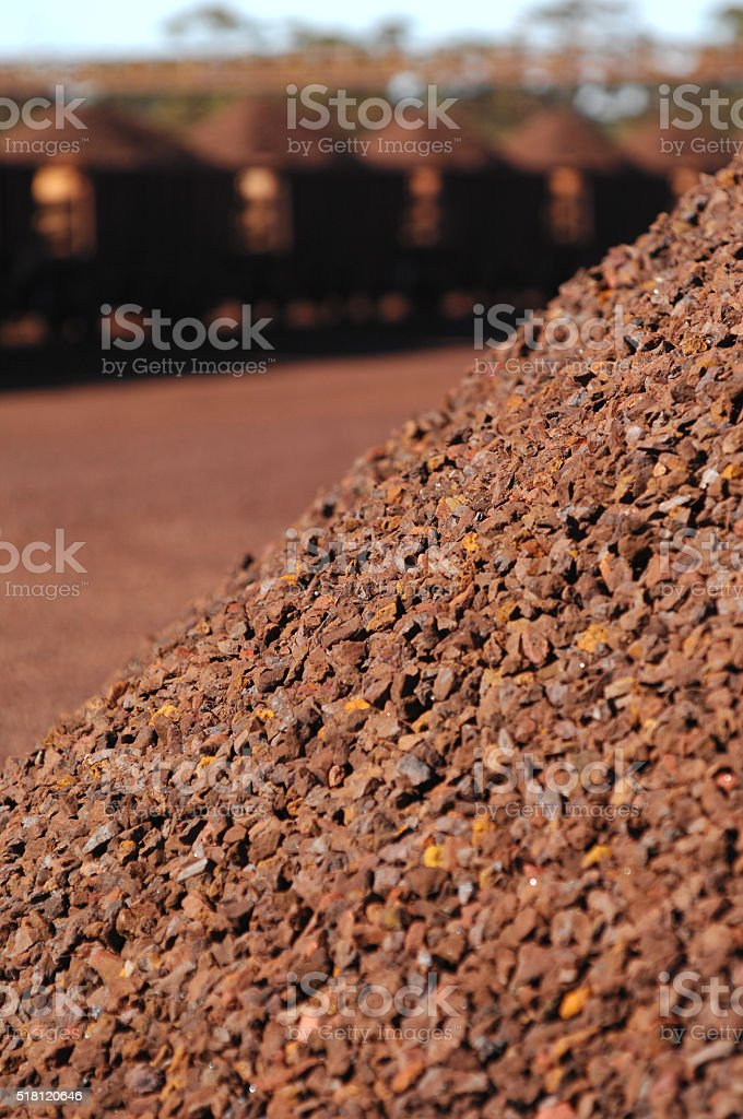 Section of iron ore stockpiles. stock photo