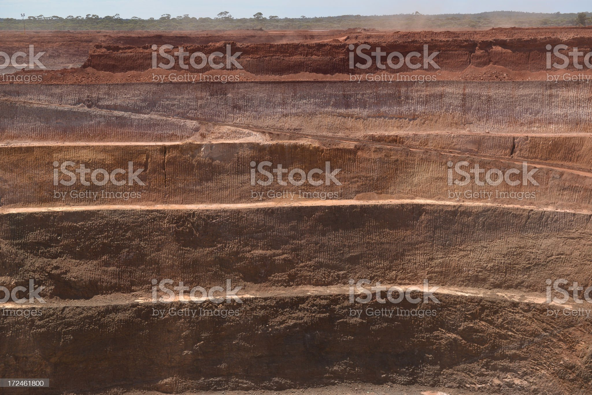 Section of minesite wall in an open cut mine. royalty-free stock photo