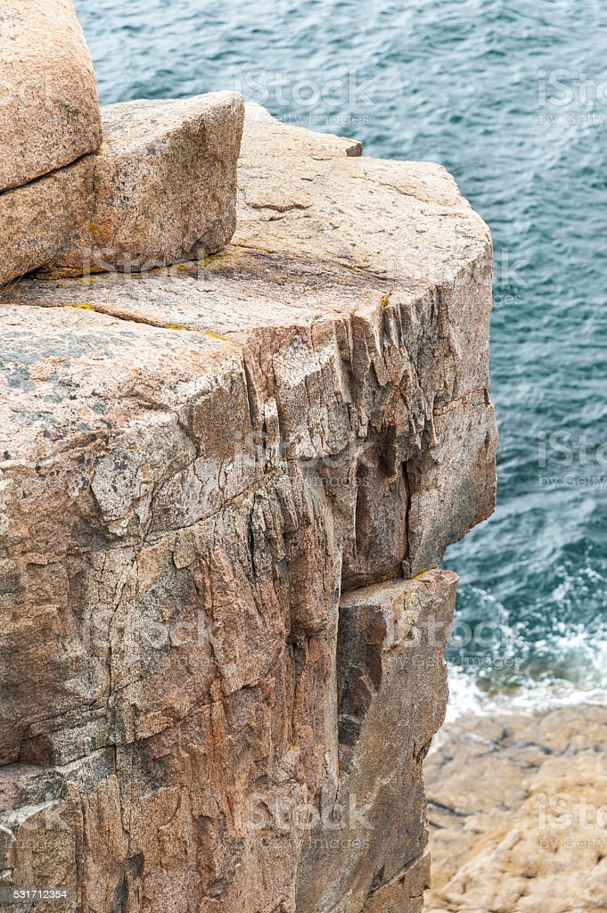 Section of Otter Cliff in Acadia National Park stock photo