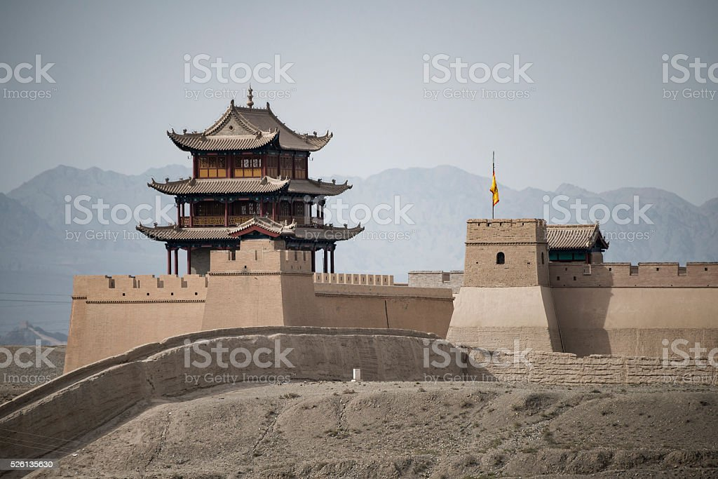 section of reconstructed wall stock photo