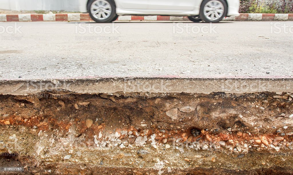 Section of road under constructions stock photo