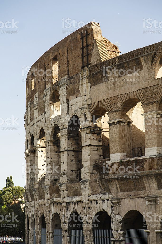 Section of Roman Coliseum Under Blue royalty-free stock photo