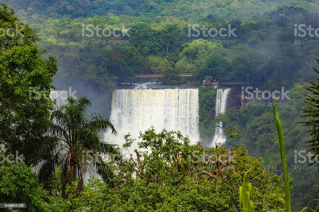 Section of the Iguassu Falls between Brazil and Argentina. Close-up. stock photo