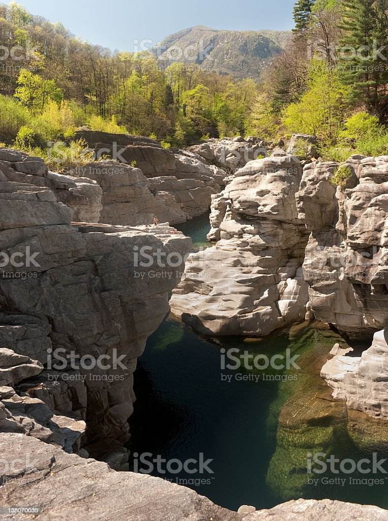 Section of the Maggia valley stock photo