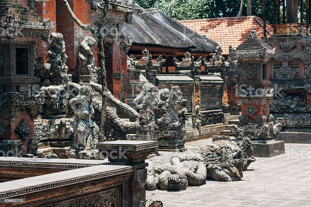 Section of the Sacred Monkey Forest Temple in Ubud, Bali. stock photo