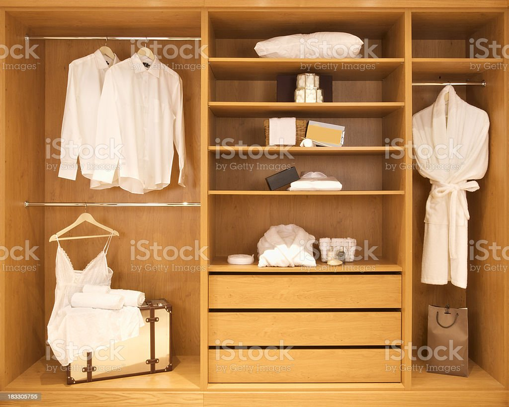section of walk-in wardrobe left royalty-free stock photo