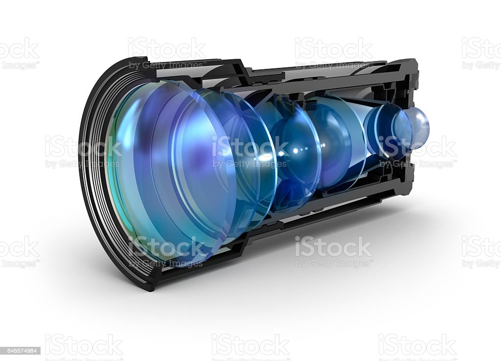 Sectional camera lens view stock photo