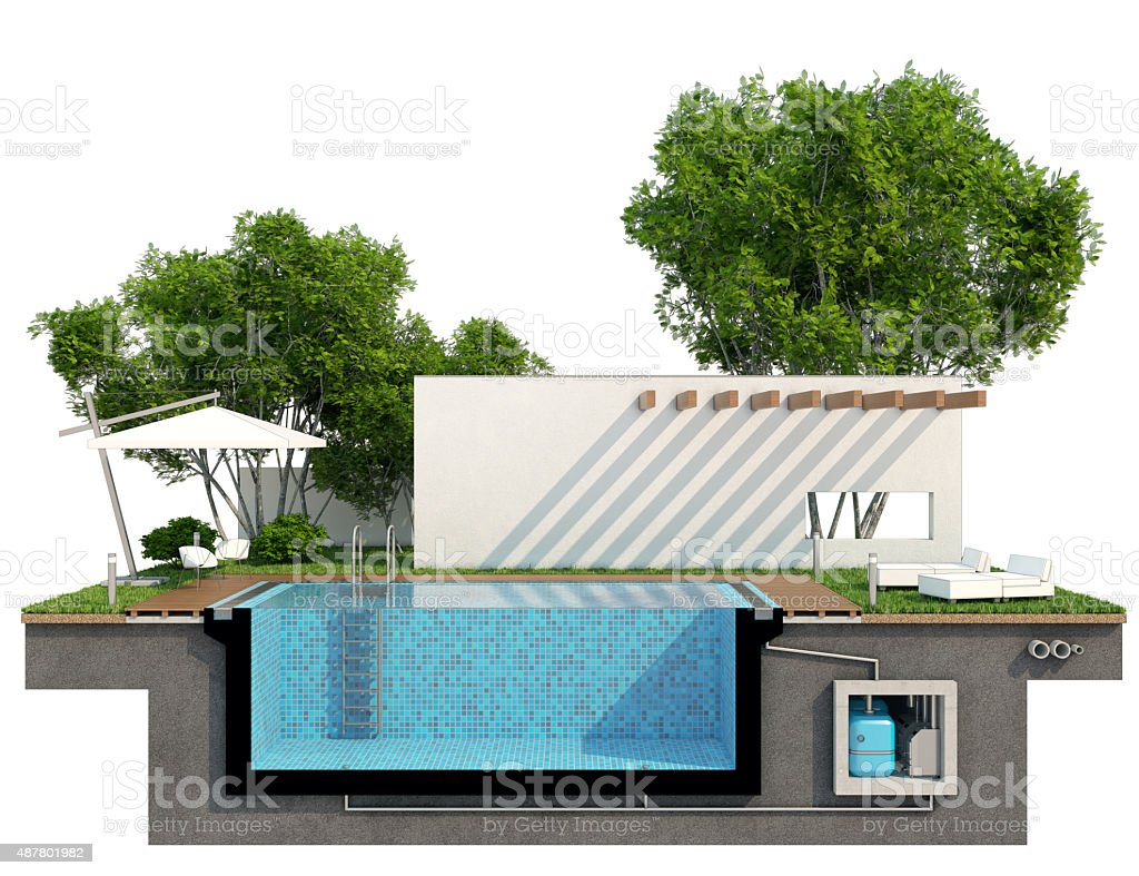 Sectional view of the pool stock photo