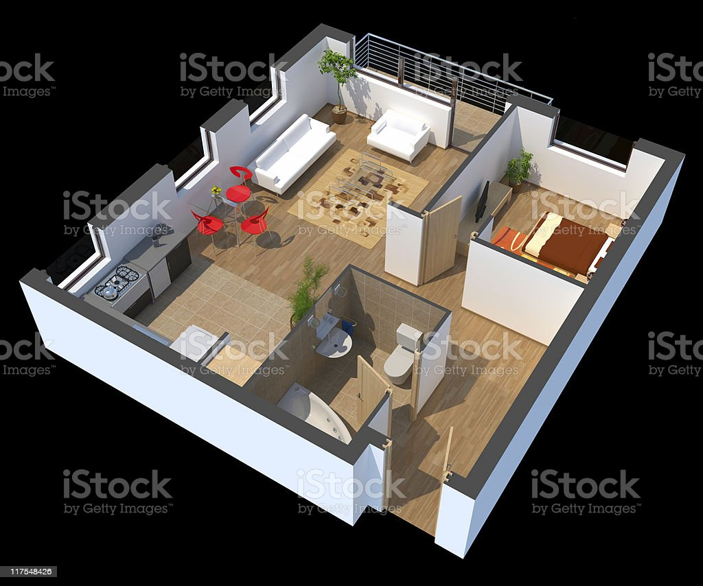 3D sectioned apartment plan model royalty-free stock photo