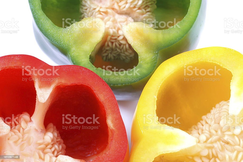 sectioned color peppers royalty-free stock photo