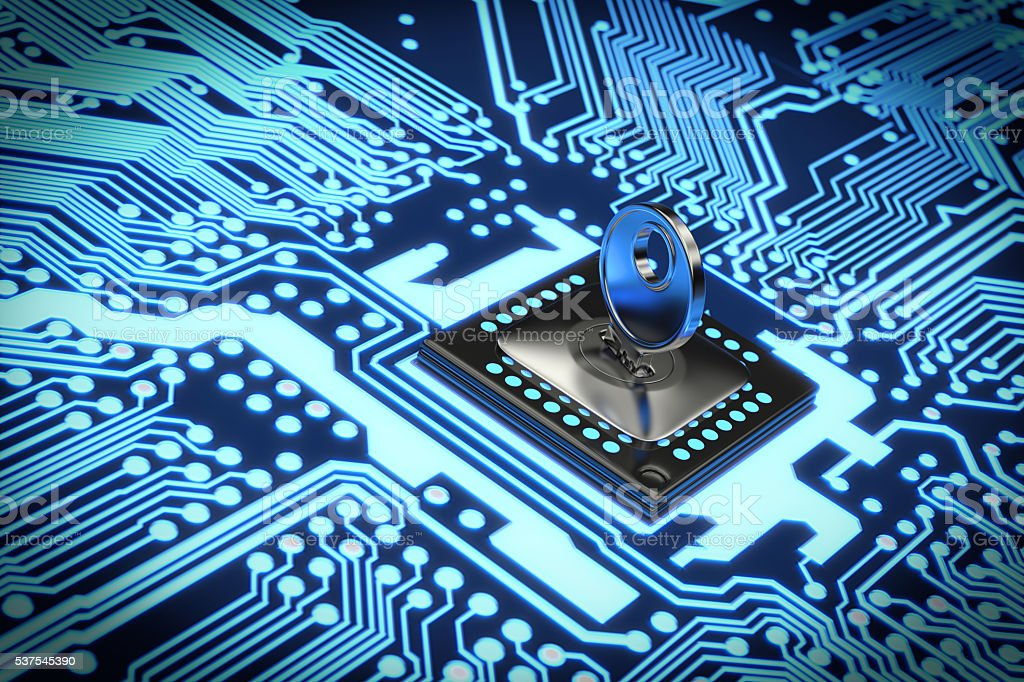 Secure Electronic circuit stock photo
