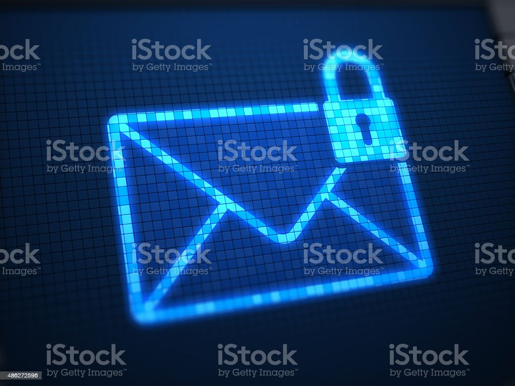 Secure mail on digital screen stock photo