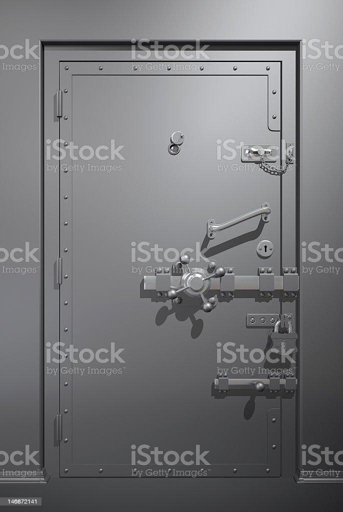 Secure metallic door stock photo