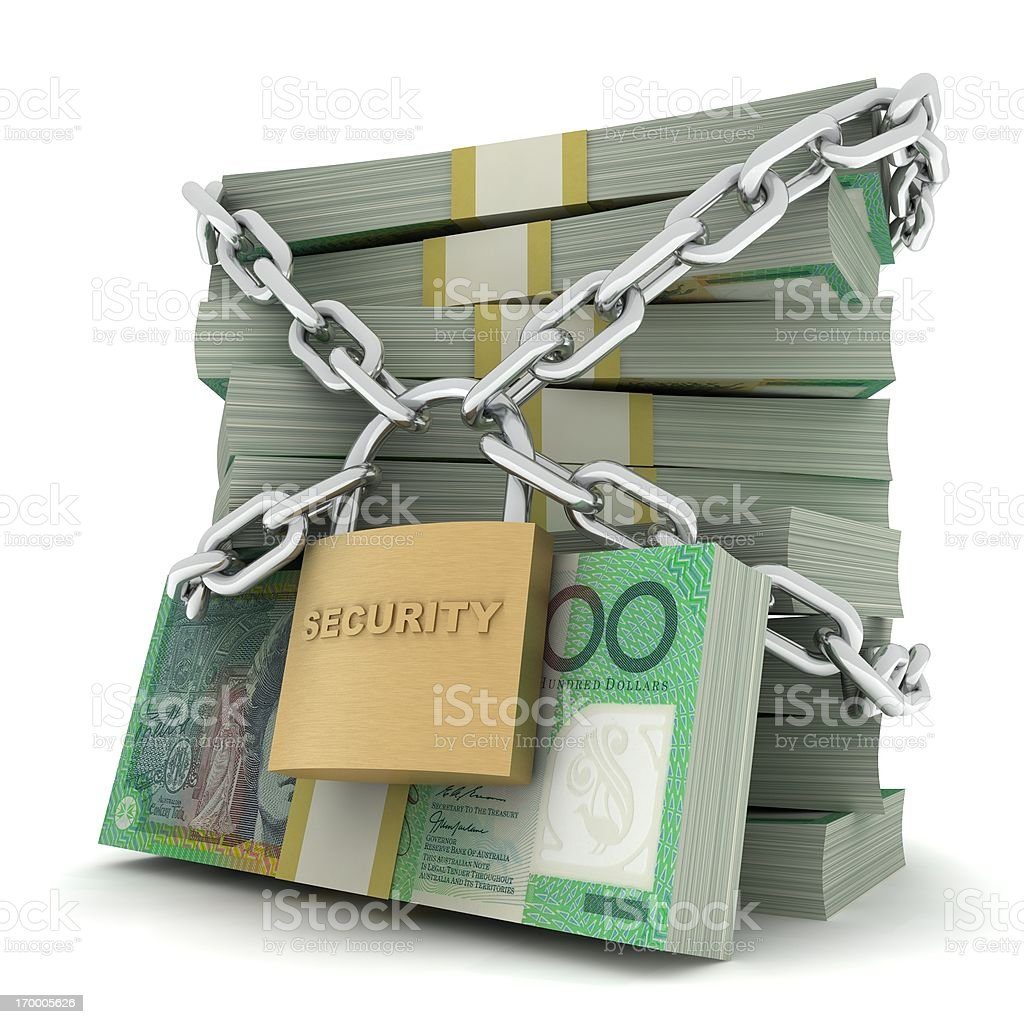 Secure Money - Australian Dollar stock photo