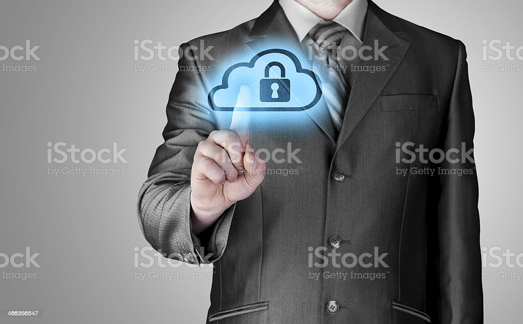 Secure Online Cloud Computing Concept with business man royalty-free stock photo