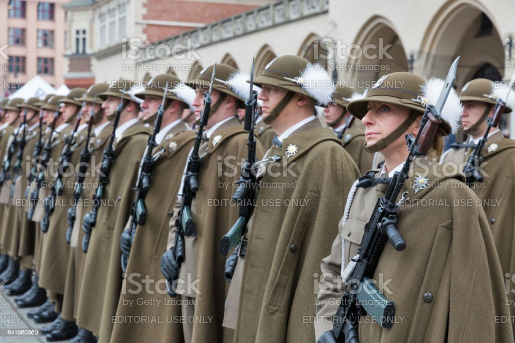 Secure Poland NATO welcome ceremony in Krakow, Poland. stock photo