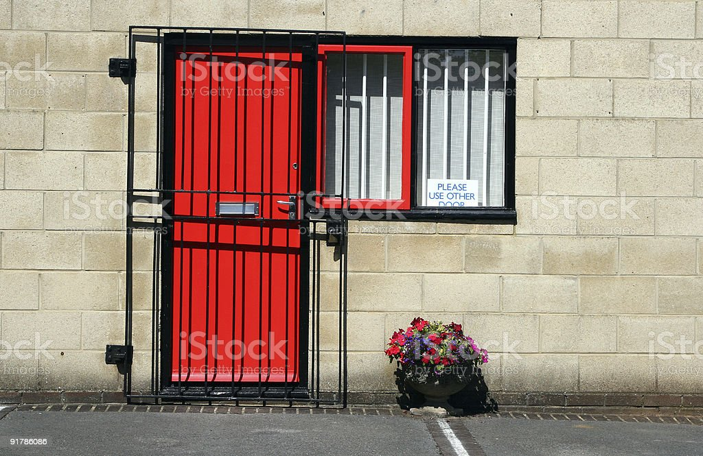 Secure red door royalty-free stock photo