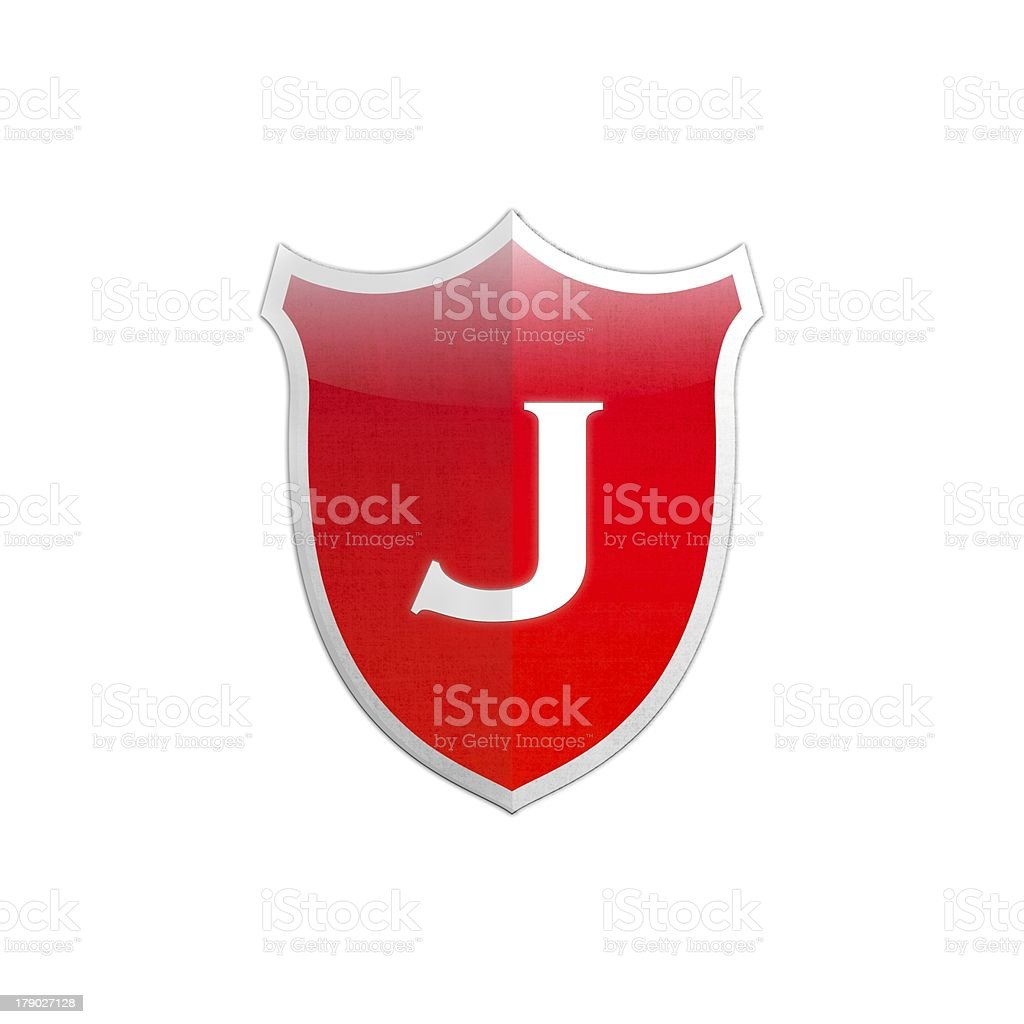 Secure shield letter J. royalty-free stock photo