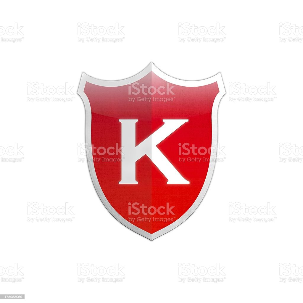Secure shield letter K. royalty-free stock photo