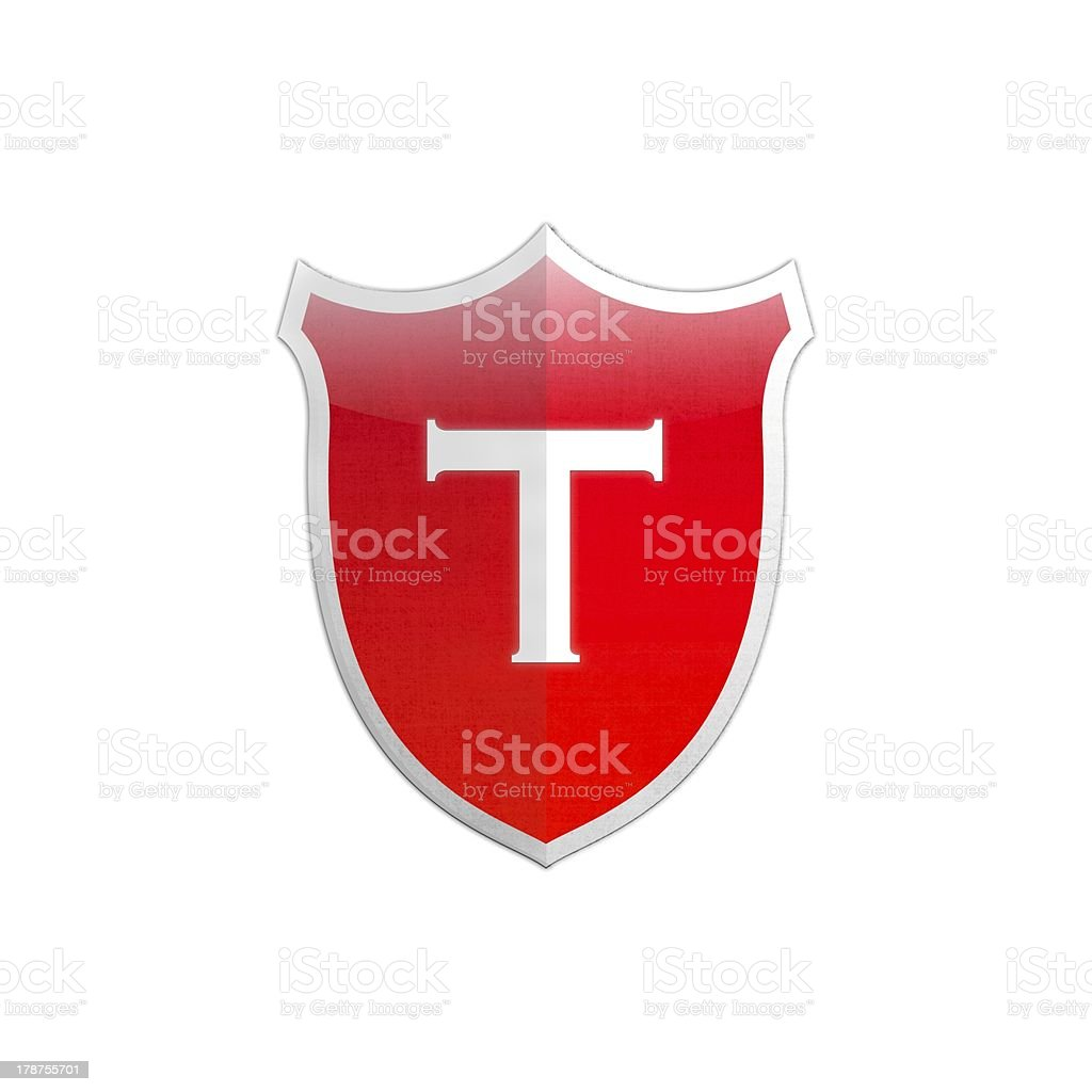Secure shield letter T. royalty-free stock photo