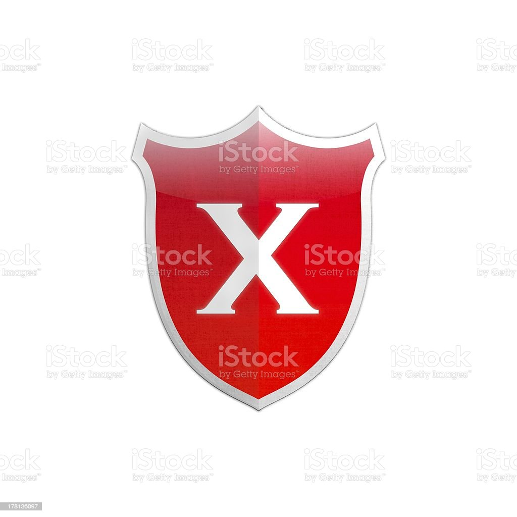 Secure shield letter X. stock photo