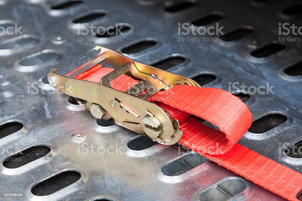 Secure truck load belt stock photo
