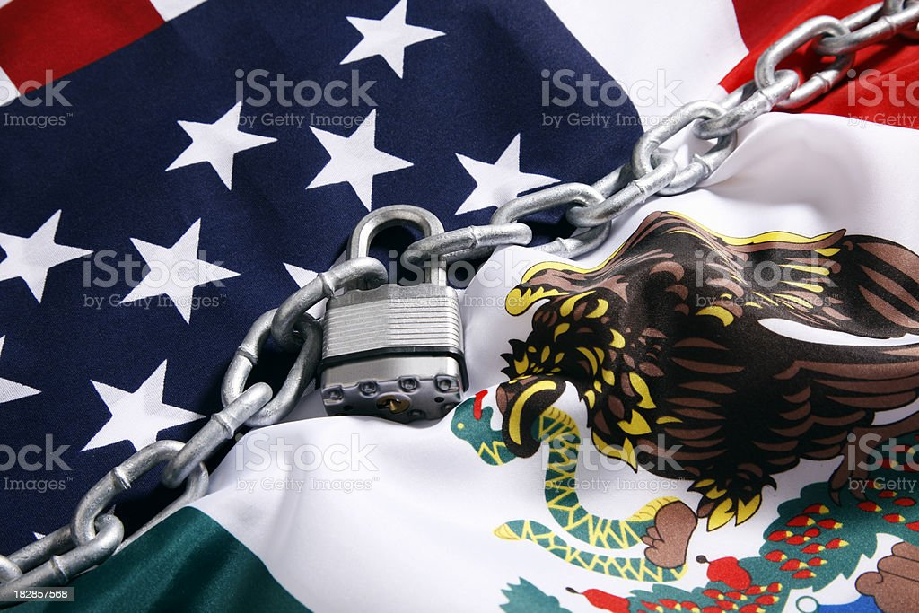 Secure USA and Mexico Border royalty-free stock photo